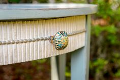 #Anthropolgie knob adds a special detail to our handpainted console table