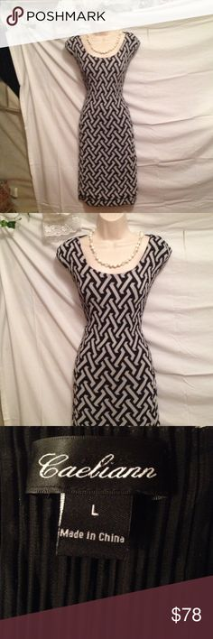 Caeliann Crêpe B&W Elegant Dress Sz L  Caeliann Crêpe B&W Elegant Dress Sz L  And great condition 100% polyester feels like crepe, stretchable and comfortable. Like new uesd it one time only. So Beautiful like a beautiful wedding office church. Comes from a non-smoking home pet free in Mint condition. I ship within 24 hours Monday Wednesday and Friday. caeliann Dresses Midi