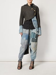 Shop tapered jeans for women online now at Farfetch. Find designer tapered jeans & narrow jeans from luxury boutiques worldwide Patchwork Jeans, Drop Crotch Jeans, Estilo Jeans, Altered Couture, Tapered Jeans, Jeans Material, Recycled Fashion, Cycling Outfit, Mode Inspiration