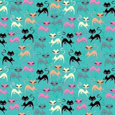Shop the world's largest marketplace of independent surface designers - Spoonflower Vintage Bathroom Vanities, Cocktail Umbrellas, Miss Fluff, Old Cartoons, Blue Fabric, Surface Design, Kitsch, Custom Fabric, Spoonflower