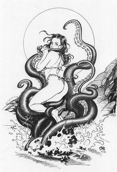 Octopussy by Frank Cho Frank Cho, Anime Fantasy, Fantasy Art, Octopus Illustration, Beast Creature, Candy Art, Girl Artist, Nose Art, Mermaid Art