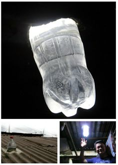 In the Philippines, to bring sustainable lighting to homes in impoverished communities, empty plastic bottles are being installed in ceilings. Filled with water and bleach, they refract sunlight, and provide light equivalent to a 55watt light bulb.