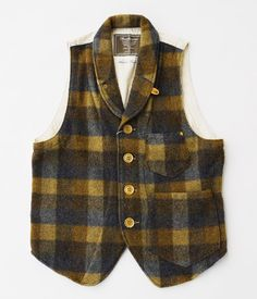ANACHRONORM Clothing Shawl Collar Plaid Melton Vest