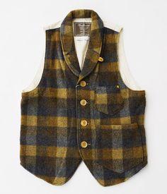 ANACHRONORM Clothing Shawl Collar Plaid Melton Vest