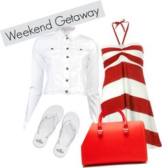 A fashion look from April 2013 featuring striped dress, jean jacket and rubber shoes. Browse and shop related looks. Canada Day Party, Outfit Of The Day, Red And White, Party Ideas, Fashion Outfits, Shoe Bag, Night, My Style, Polyvore