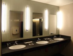 Bartco Project: Barclays Center Suite Level Vanity Fixture Used: Semi-recessed Lamp Used: Lighting Design: Goldstick Lighting Design Lighting Inc, Lighting Design, Fluorescent Lamp, Bathroom Lighting, Barclays Center, Vanity, Mirror, Projects, Furniture