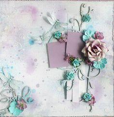 Premade 12 x12  Shabby Chic Scrapbook Layout, Blue Fern Studios, Prima, Album, Wedding, Butterflies