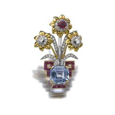 RUBY, SAPPHIRE AND DIAMOND BROOCH, CARTIER, 1940S. Of giardinetto design, the vase decorated with a step-cut sapphire, further set with calibré-cut and cushion shaped rubies, circular-, single-cut and baguette diamonds, signed Cartier Paris and numbered, French assay and partial maker's marks, case stamped Cartier.