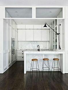 kitchen peninsula bar and light