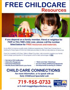 Pikes Peak United Way provides free resources for family members, friends or neighbors who provide childcare. Contact maggie@ppunitedway.org for more information on free materials and resources.