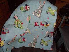 Vintage Barkcloth Childs Fabric curtain children bunnies trains clowns baloons