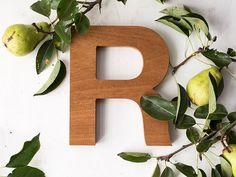 Wooden letter exotic wood alphabet decorative by BotanikaStudio