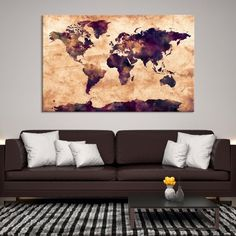 22027 - Large Wall Art World Map Canvas Print- Watercolor World Map Travel Canvas Print- Modern XXL Large Wall Art World Map Canvas Print Large Canvas Wall Art, Extra Large Wall Art, Canvas Prints, World Map Travel, Water Color World Map, World Map Canvas, Art World, Cotton Canvas, Wrapped Canvas