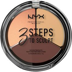 NYX PROFESSIONAL MAKEUP 3 Steps To Sculpt Face Sculpting Palette ($15) ❤ liked on Polyvore featuring beauty products, makeup, face makeup, highlight makeup, nyx cosmetics, nyx makeup, palette makeup and nyx