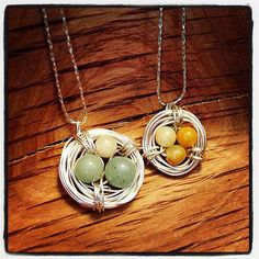 "Bird Nest Necklace -- Silver -- Wire-wrapped -- Three Beads -- 18"" Chain #EasyNip"