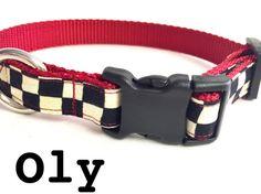 Dog collar checkered dog collar black and by DazzleDoggieDesigns