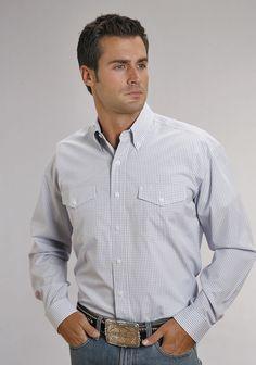 Stetson Mens Blue Light Two Stripe Check 100% Cotton L/S Western Shirt