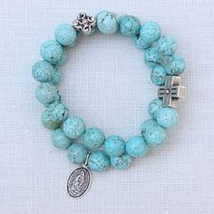 Our Lady of Guadalupe Double Turquoise Bracelet. Great with a summer dress.  $60.95