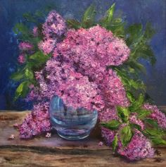 View Lilac in a blue vase by Alena Rumak. Browse more art for sale at great prices. New art added daily. Buy original art direct from international artists. Shop now Artwork Online, Buy Art Online, Impressionist Landscape, Landscape Paintings, Floral Artwork, Painting Gallery, Flowers Nature, Botanical Art, Artist Painting