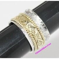 Artisan Jewelry Two Tone 925 Sterling Silver Brass Filigree Spi..