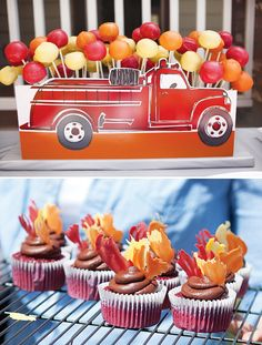flames on cupcakes...cute fire truck birthday party. Instead of a cake this year I may do this.....