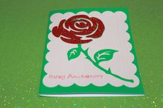 Happy Anniversary handmade rose greeting card by AnLieDesigns, $2.00