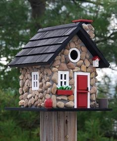 Home Bazaar Windy Ridge Stone Bird House - Home And Garden #birdhouseideas