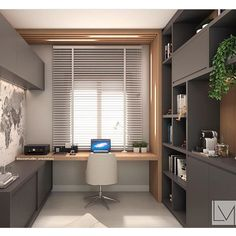 Modern grey home office with light wood accents. Simple and modern home office design using grey cabinetry and light wood accents. Small Home Offices, Home Office Space, Home Office Desks, Small Office, Grey Office, Front Office, Modern Home Offices, Workspace Desk, Future Office