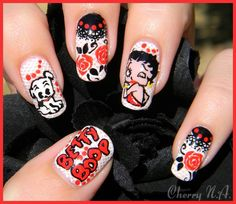 Nail art Betty Boop. My mom would love this