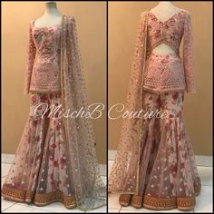blush Hues by MischB Couture Free Drum Lesson From Top Pro's Across The World Click Now Pakistani Dress Design, Pakistani Outfits, Indian Wedding Outfits, Indian Outfits, Stylish Dresses, Fashion Dresses, Stylish Suit, Sharara Designs, Stitching Dresses