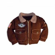 Bomber Jacket Crochet Pattern looks just like the classic leather version. Super cool for any kid sizes 6 mo to 14.