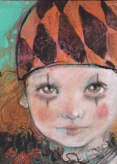 Little Halloween Harlequin-ACEO  Open edition reproduction by Maria Pace-Wynters