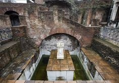 """honorthegods: """" The Sacred Pool of Juturna, Roman Forum. Photo from the 2015 exhibition Lacus Iuturnae - The sacred fountain of the Roman Forum at the Temple of Romulus in Rome, curated by Patrizia Fortini and the National Institute for Archaeology. Roman Forum, Water Nymphs, Building A Pool, Roman Empire, Rome, Archaeology, Fountain, World, Beavers"""