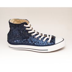 4656a75347f4 Sequin Navy Blue Converse Canvas Hi Top Sneaker by princesspumps