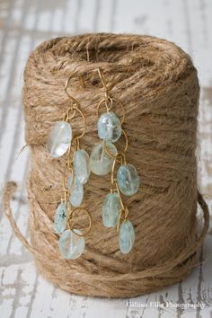 Bridesmaids Aquamarine and Gold Dangle Earrings by deeruel on Etsy, $30.00
