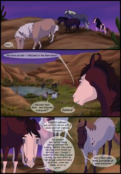 This took freaking ages and I STILL HATE IT! That scenary. Deviantart Comic, Spirit And Rain, Horse Template, Wolf Comics, Horse Animation, Horse Cartoon, Indian Horses, Spirited Art, Equine Art