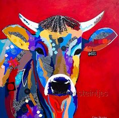 """""""Colorful Cow"""", Acrylic on Canvas, Cow Paintings On Canvas, Happy Paintings, Animal Paintings, Animal Quilts, Cow Art, Colorful Animals, Arte Pop, Western Art, Fabric Art"""