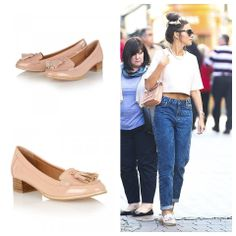 Get the gorgeous Michelle Keegan's casual spring look in our very own Magnolia low heel loafers in nude patent