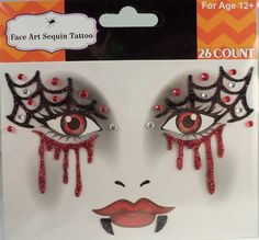 Rhinestone & Glitter Vampire Face Art Kit is perfect for Halloween costumes, theme parties and cosplay costumes. Cosplay Costumes, Halloween Costumes, Rhinestone Makeup, Crystal Tattoo, War Paint, Face Art, How To Apply, How To Make, Eye Shadow