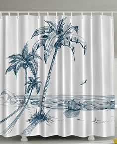 ... Ocean Waves Rocks Desert Island Sketch Pencil Drawing Love Lovely  Aquatic Design Navy Teal High Quality Woven Polyester Fabric Shower Curtain  *** Be ...