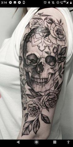 Feminine Shoulder Tattoos, Feminine Skull Tattoos, Floral Skull Tattoos, Feminine Tattoo Sleeves, Skull Girl Tattoo, Skull Sleeve Tattoos, Tattoo Ink, Arm Sleeve Tattoos For Women, Unique Half Sleeve Tattoos