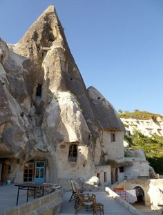 homes carved out of the hills