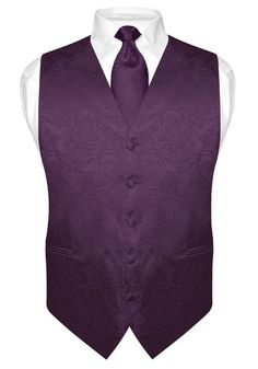 Men's Dark Purple Paisley Design Dress Vest and NeckTie Set for Suit or Tuxedo
