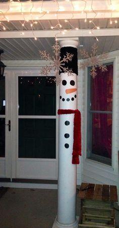 Snowman porch post