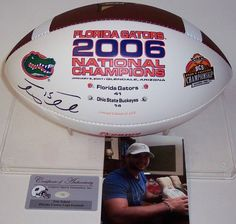 Tim Tebow Autographed Hand Signed Florida Gators 2006 National Champs Logo Football