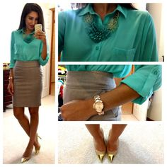 Hello, Gorgeous!: threads. Turquoise // blouse // pencil skirt // gold heels