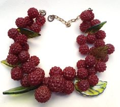 Fruits and Vegetables Plastic Jewelry, Old Jewelry, Antique Jewelry, Jewelery, Fruits And Vegetables, Vintage Antiques, Raspberry, Retro, Fashion Jewelry