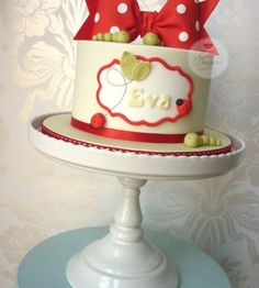 Large Red Polka Dotted Bow Birthday Cake