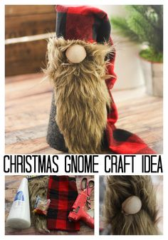 Make a Christmas gnome for your holiday decor this year! This Scandinavian gnome is perfect for your farmhouse Christmas! Jar Crafts, Bottle Crafts, Crafts For Kids, Preschool Crafts, Kids Diy, Craft Activities, Decor Crafts, Christmas Gnome, Christmas Crafts