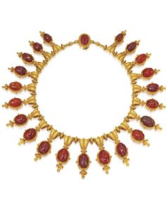 Archaeological revival gold and carnelian scarab necklace, c. 1860